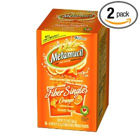 Metamucil fiber singles, orange flavor, smooth texture, 30-count units (pack of 2)