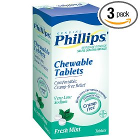 Phillips' mint chewable laxative tablets, 100-count box  (pack of 3)