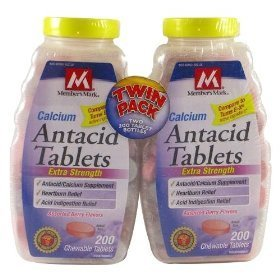 Member's mark antacid tablets 750mg, assorted berries, chewable tablets twin pack, 400-count