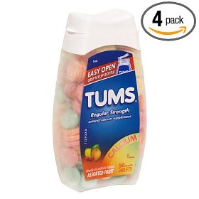 Tums regular strength antacid/calcium supplement tablets, assorted fruit, 150-count bottles (pack of 4)