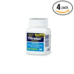 Titralac regular fast relief antacid tablets, spearmint  flavor, 100-count bottles (pack of 4)