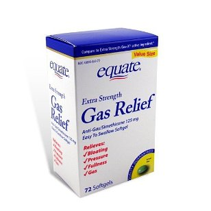 Equate extra strength 125 mg gas relief softgels, 72-count bottle
