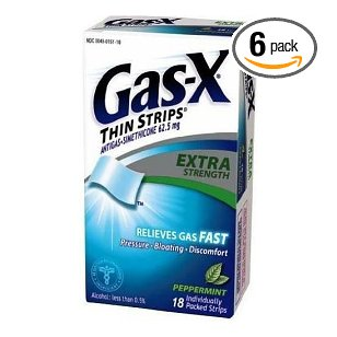 Gas-x thin strips antigas, extra strength, peppermint flavored strips, 18 strips (pack of 6)