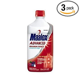 Maalox advanced maximum strength antacid/anti-gas liquid, wild berry, 12-ounce bottles (pack of 3)