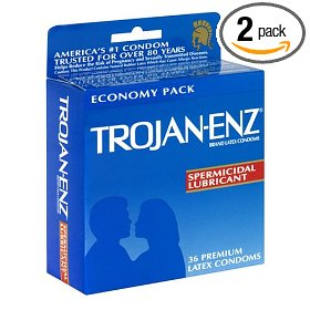 Trojan-enz latex condoms, spermicidal lubricant, 36-count boxes (pack of 2)