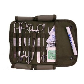 Military surgical kit with instruments and sutures