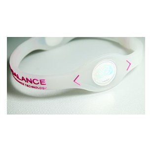 - 	 power balance silicone wristband, clear/ fuchsia small
