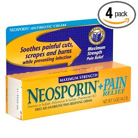 Neosporin plus pain relief first aid antibiotic/pain relieving cream, maximum strength 0.5-ounce tubes (pack of 4)
