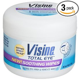 Visine total eye soothing wipes, 30-count plastic tub (pack of 3)