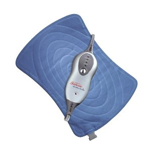 Sunbeam health at home hourglass shaped heating pad with 4 heat settings and 2 hour auto-off