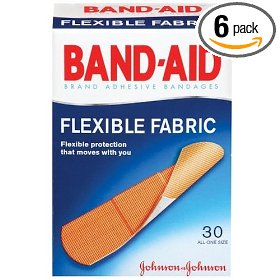 Band-aid brand adhesive bandages, flexible fabric, 30-count all-one-size (pack of 6)