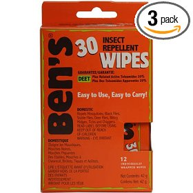 Tender ben's 30% deet 12-count travel wipes, (pack of 3)