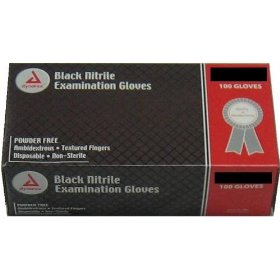 Dynarex black nitrile exam gloves heavyduty powder free small box/100