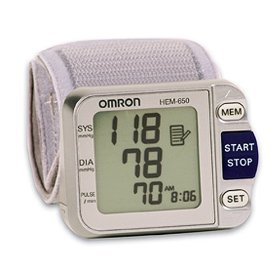 Omron hem-650 wrist blood pressure monitor with aps (advanced positioning sensor)