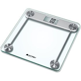 Kintrex precision glass bath scale, large lcd display, sense-on technology, 330 lb capacity, clear and silver