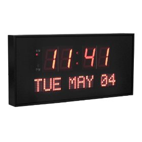 Dynamic living oversized 16-inch x 7.5-inch digital led calendar wall clock