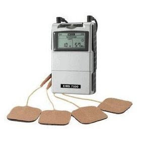 Complete muscle stimulation unit with carrying case and electrodes