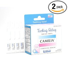 Boiron homeopathic medicine camilia teething relief single-use oral doses, 20-count boxes (pack of 2)