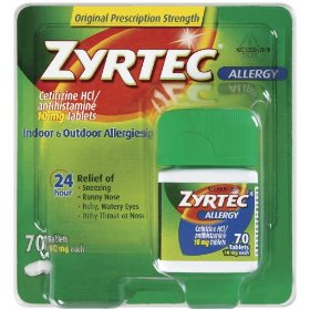 Zyrtec, allergy, 10 mgtablets, 70-count package