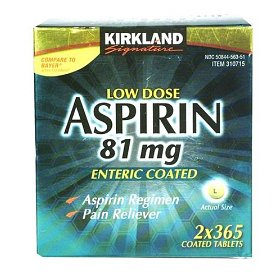 Kirkland low dose aspirin (81mg x 2 x 365 enteric coated tablets)