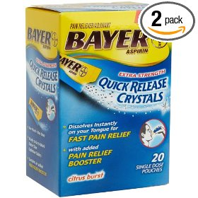 Bayer aspirin pain reliever extra-strength quick release crystals, 20-count pouches (pack of 2)