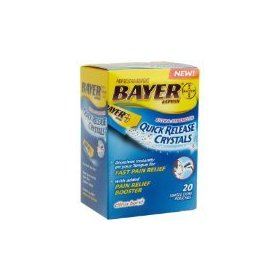 Bayer aspirin pain reliever extra-strength quick release crystals, 20-count pouches (pack of 3)