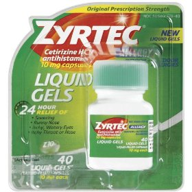 Zyrtec liquid gels, 40-count package