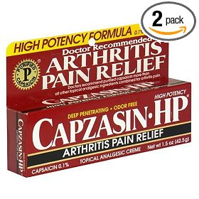 Capzasin-hp arthritis relief topical analgesic cream, .1-percent capsaicin, 1.5-ounce tubes (pack of 2)