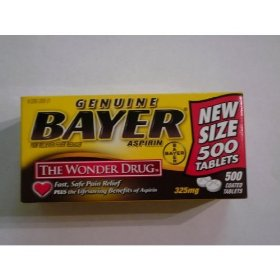 Bayer genuine aspirin 325mg 500 tablets