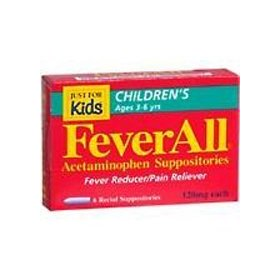 Feverall children's acetaminophen suppositories, 120mg, ages 3-6 years 6 ea