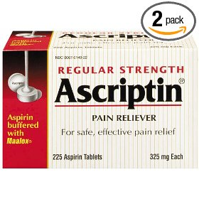 Ascriptin pain reliever buffered aspirin tablets, regular strength, 325 mg, 225-count bottles (pack of 2)