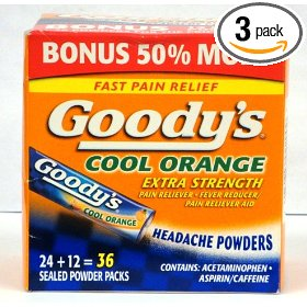 Goody's cool orange extra strength pain reliever/fever reducer headache powders bonus size 36 powder packs per box (pack of 3)