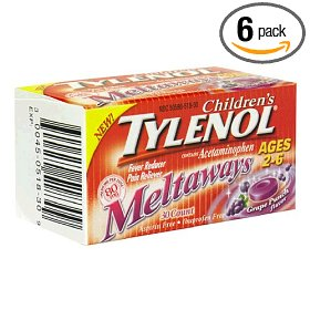 Tylenol children's acetaminophen (80 mg) for ages 2-6, grape punch flavor, 30-count meltaways (pack of 6)