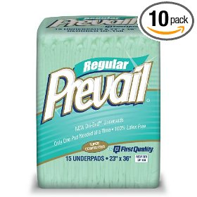 Prevail fluff underpad, 15 underpads (pack of 10)