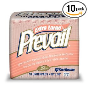 Prevail underpad, super absorbent, 10 underpads (pack of 10)
