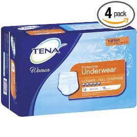 Tena women's protective underwear, ultimate absorbancy, medium 18-count (pack of 4)