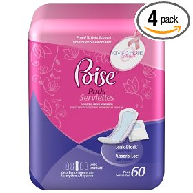 Poise bladder protection pads, moderate- long, 60-count (pack of 4)