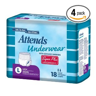 Attends disposable adult underwear, super plus