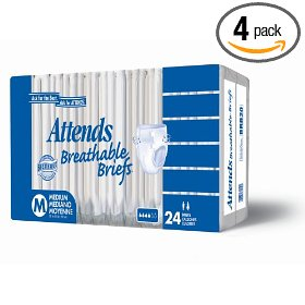 Attends breathable briefs, medium, 24-count packages (pack of 4)