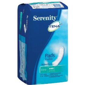 Tena serenity pads, discreet bladder protection, extra absorbency, 72-count package