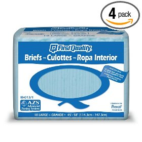 First quality total care ib adult briefs, large, 18 briefs (pack of 4)