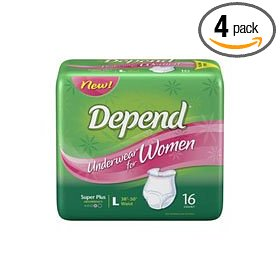 Depend underwear for women, super-plus, large, case/64 (4/16s)