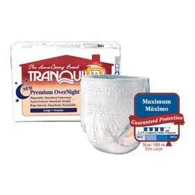 Tranquility premium overnight pull-on diapers size medium case/72 (4 bags of 18)