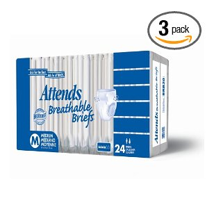 Attends breathable briefs, large, 24-count packages (pack of 3)