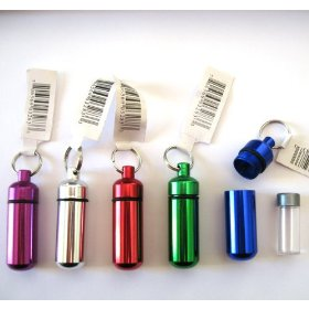 5pc small size / medical alert - first aid container pill case set - key chain - water resistant