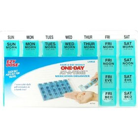 Four-a-day, weekly, one day at a time, medication organizer - large