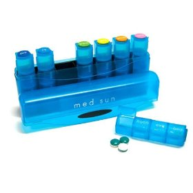 Med sun blue or green 7 day 4 dose pill organizer (amazon fullfillment color is green)
