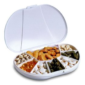Travel size vita carry 8 compartment pill box holds up to 150 pills (actual size: 6.0
