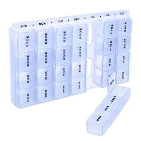 7-day 4-times per day pill box organizer reminder with braille