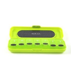 Med sun green 7 day pill organizer protective case snaps closed to secure pills